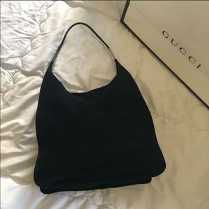 Gucci tote black bag material suede with a leather